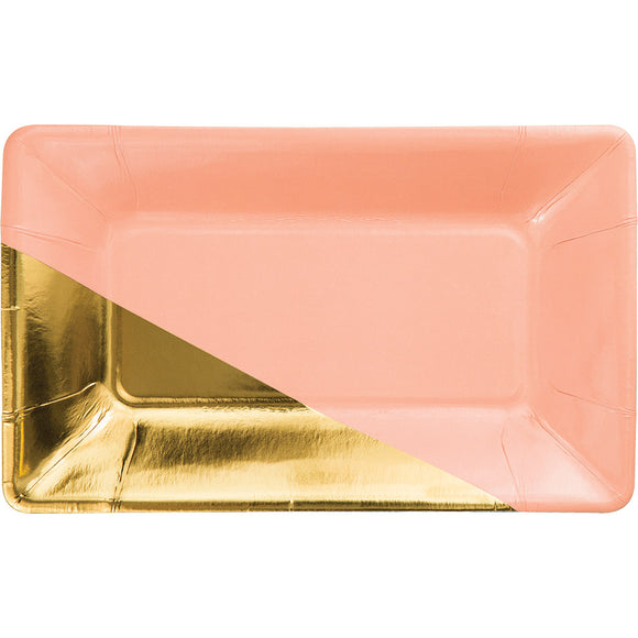 Coral and Gold Rectangle Paper Party Plate