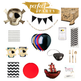 Perfect Party in a Box Vision Board with party supplies for a pirate party