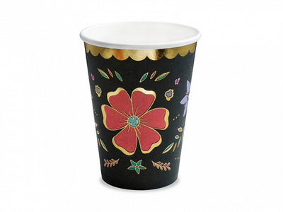 Day of the dead party cups, black background with colourful details and gold foil