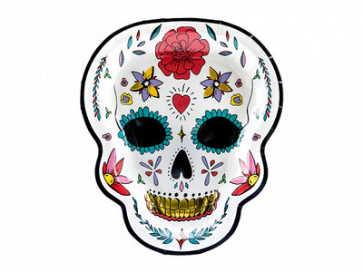 Day of the dead skull plate. halloween party decor
