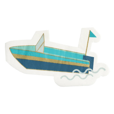 Die Cut Boat Party Napkin in Shades of blue.