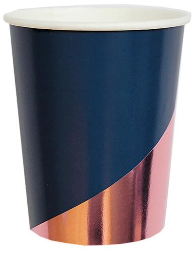 Blue and Rose Gold Paper Cups. Erika Collection