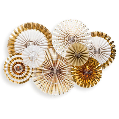 Fancy White and Gold Paper Party Fans Set of 8