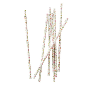 Floral Paper Party Straws