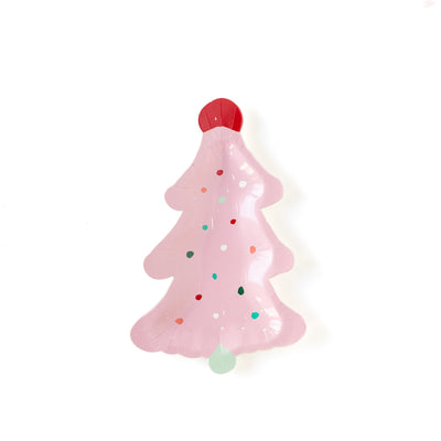 Pink and green christmas tree shaped plates.