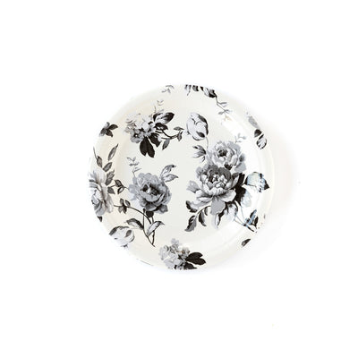 Cream and Black floral gingham plate collection