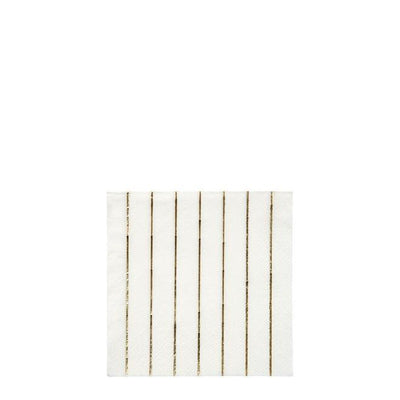 Small White Napkin with Gold Stripes