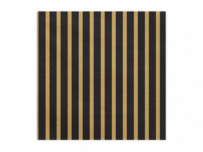 black napkins with gold stipes