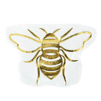 White with gold foil bee napkins