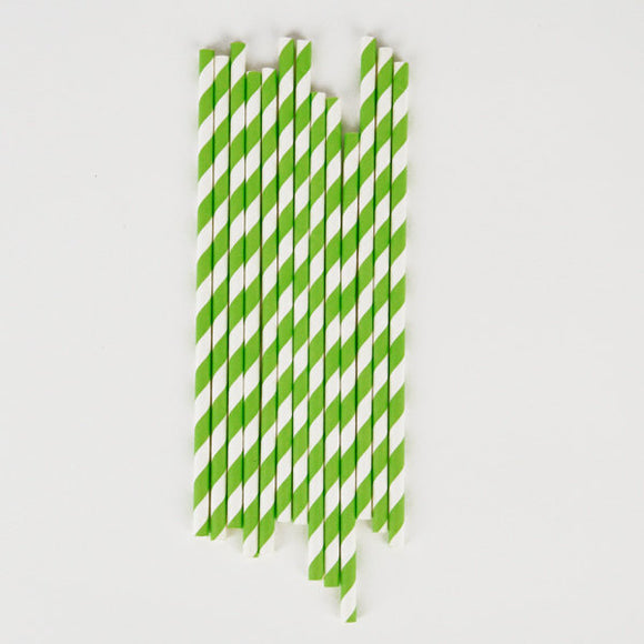 Green and White Striped Paper Straws Party Essentials