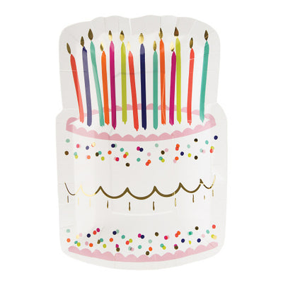 Happy Birthday Cake Plate with candles and pretty decorations of gold foil