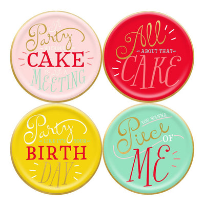 Party Cake Plates with fun sayings in a variety of colours