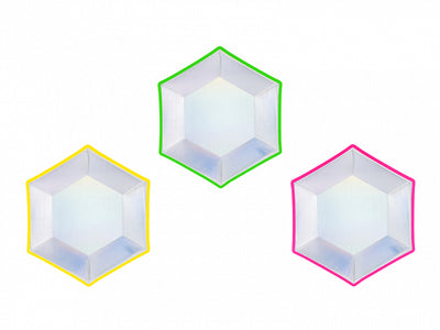 Holographic hexagon shaped plates with neon boarders in pink, green and yellow