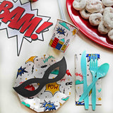 Superhero Party mask resting on Paper Plate