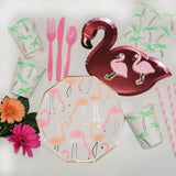 Flamingo party supplies and palm tree cups and napkins