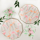 Flamingo designed plates and mini pink flamingo cookies