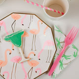 Flamingo designed plates with mini margarita cookie and pink cutlery