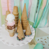 Ice Cream Cones and triple scoop ice cream