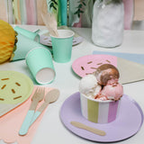 ice cream bowl on lilac coloured party plate