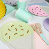 Ice Cream Plates, mint coloured cups and wooden cutlery