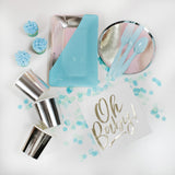 Baby Blue Party Supplies Table Scatter