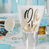 Oh Baby White and Gold Napkin in a Silver Party Cup
