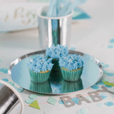 Blue Iced Cupcakes on a silver paper plate