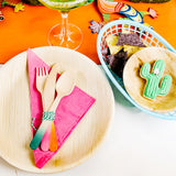 Bamboo Plates and Fiesta Cutlery and cookies