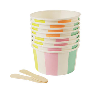 Striped Ice Cream Bowls with Wooden Sticks