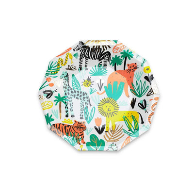 Into the wild, jungle themed party plate. Full of lions, zebras and tigers.