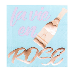 La vie en rose party napkins in light blue, pink and rose.
