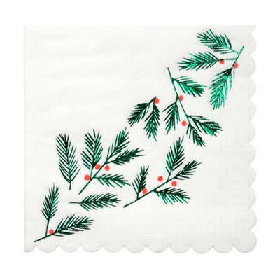 Festive Leafs and Berries Party Napkins