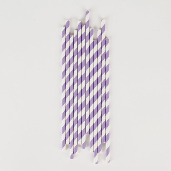 Lilac and White Striped Paper Straws Party Supplies