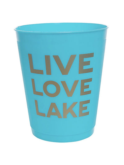 live love lake cups in lake blue and gold writting