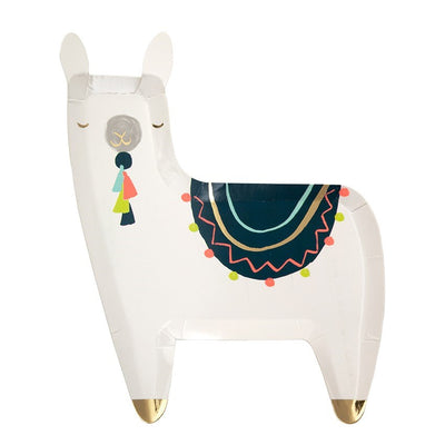 llama shaped plate with neon colours and gold foil details
