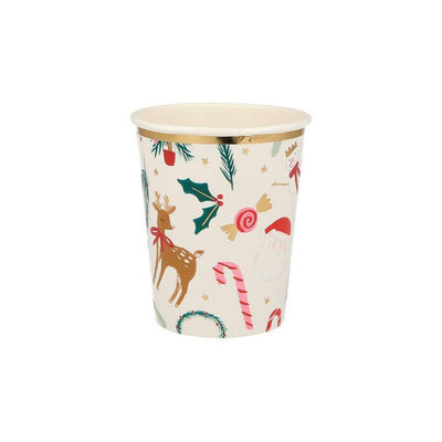 Festive motif paper cups full of christmas designs