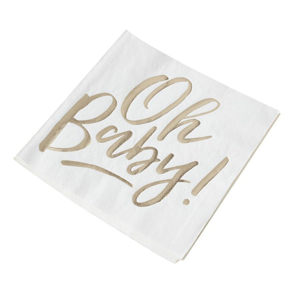 Gold Foiled Oh Baby Paper Napkin
