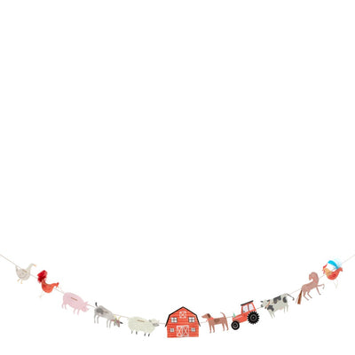 10' long barn themed garland with barnyard animals. Tractors, cows, horses, pigs and roosters.