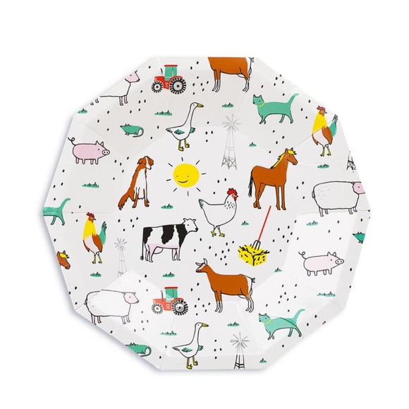 On the farm small party plates. White background with barnyard animals and foil details.