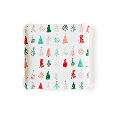 Oui Christmas tree square plate with whimsical design