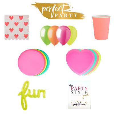 I heart neon party box vision board