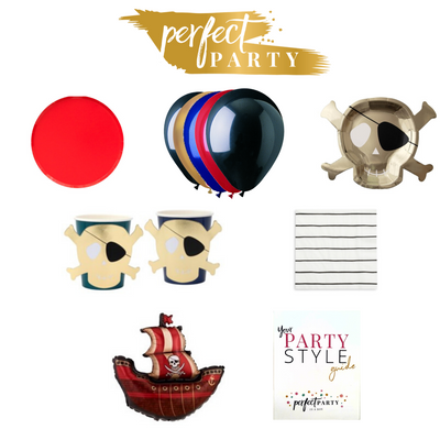Pirate Party with Red plates, balloons, pirate cups and plates and black and white striped napkins