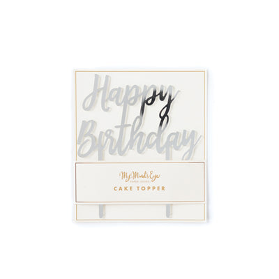 Iridescent Happy Birthday Cake Topper