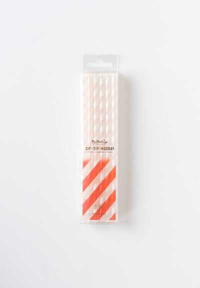 Red Striped Colour Changing Straws