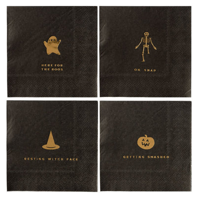 Black Halloween Napkins with variety of sayings