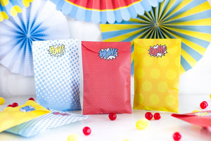 Superhero Treat Bags in Yellow, Blue and White/Blue with Stickers