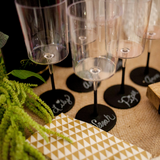 Wine Glasses with Chalkboard bottoms and Party time gold napkins