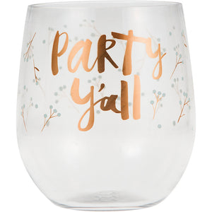 """Party Y'All"" Stemless Wine Glass"