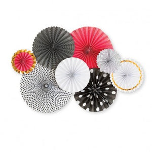 Black, Red, Pink and White Paper Party Fans