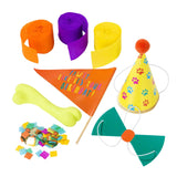 Party Supplies including streamers, party hat, dog bone, bowtie and confetti